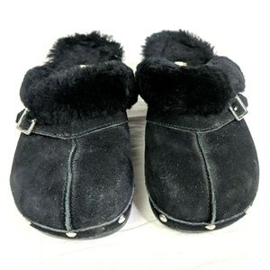 BEARPAW Shoes - Bear Paw Clogs Womens 8 Black Suede Leather Open B